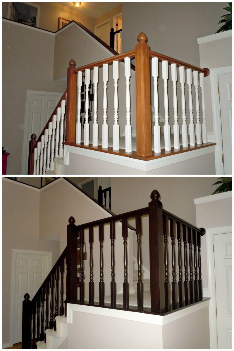 makeover wooden stair railing using espresso general finishes java gel stain ideas