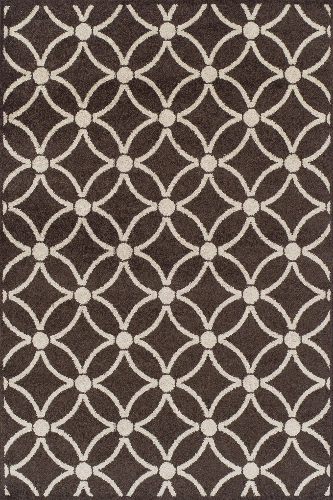 Marcelo MO 990 Rectangle Shape Rug In Brown With White Flower Motif By Dalyn Rugs For Floor Decor Ideas
