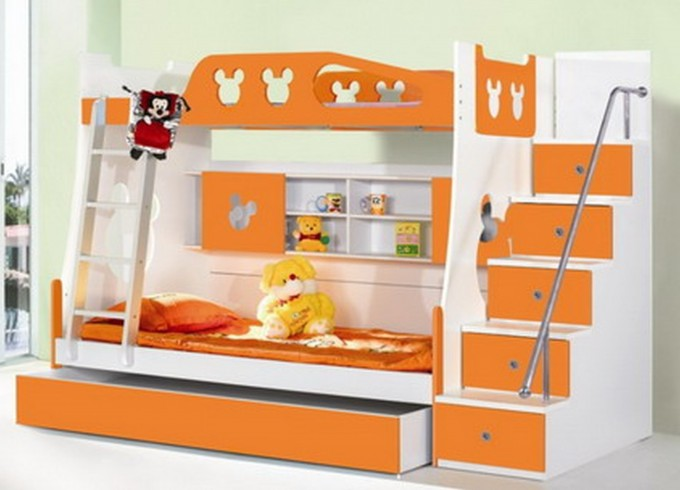 Marvelous Wood Bunk Beds With Stairs In White And Orange Theme With Drawers On White Tile Floor Matched With Olive Wall For Kids Bedroom Decor Ideas