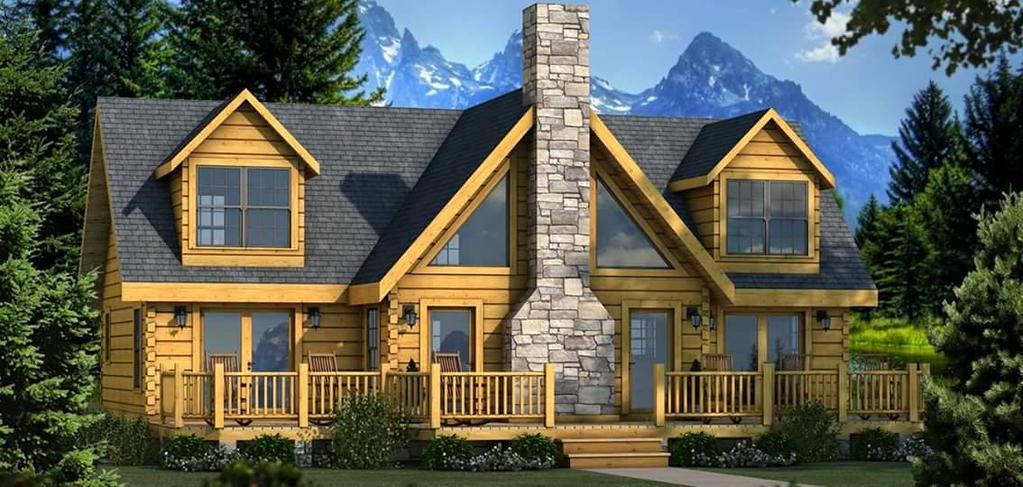 Modern Natural exterior design of Southland Log Homes with natural stone chimney and glass window plus door ideas
