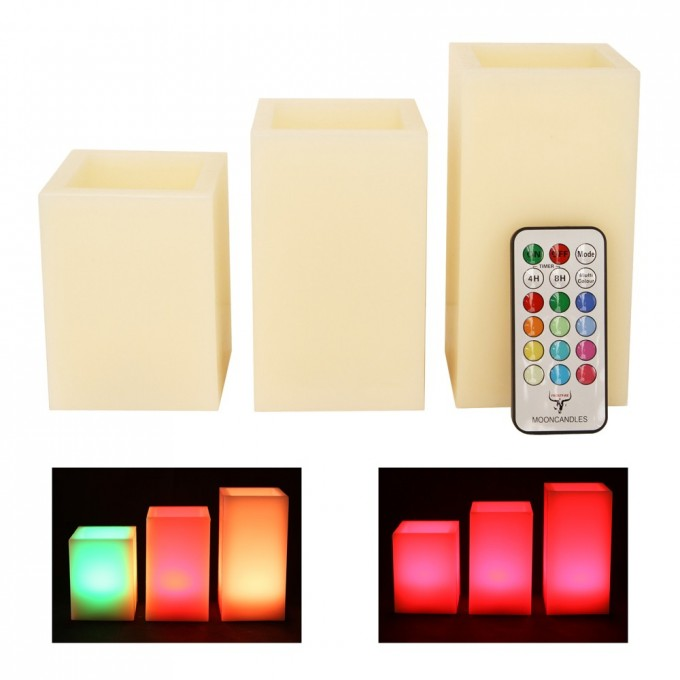 Mooncandles 3 Square Wax Vanilla Scented Color Changing Flameless Candles With Timer For Home Decoration Ideas