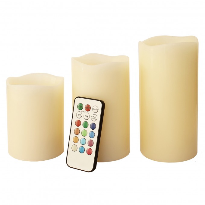 Mooncandles 3 Wax Color Changing Flameless Candles With Timer For Home Lighting And