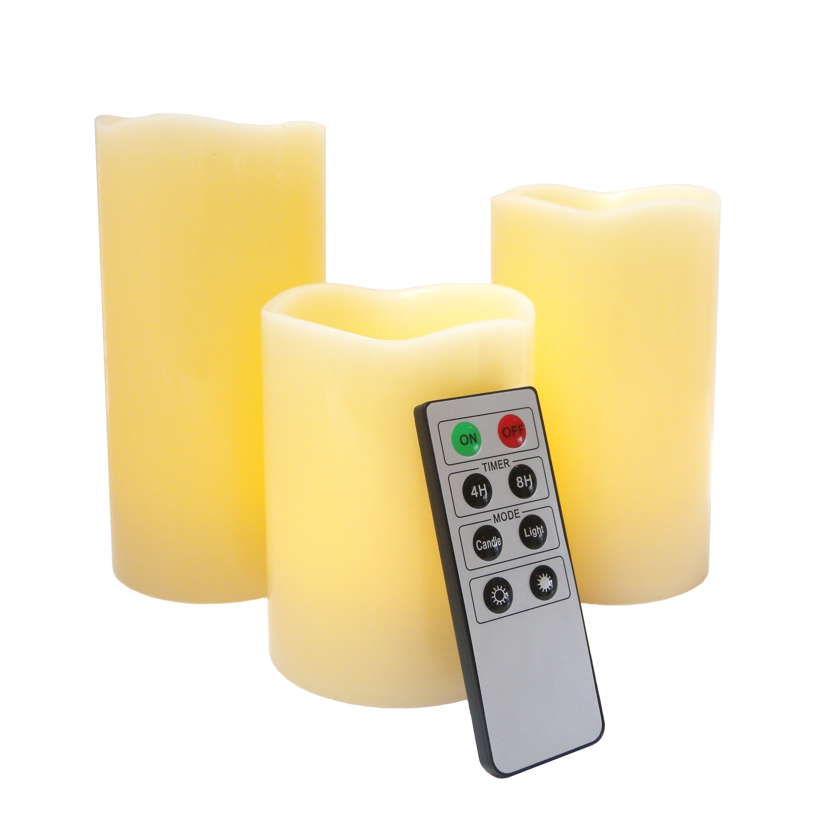 Mooncandles 3 Wax flameless candles with timer and Remote for home decoration