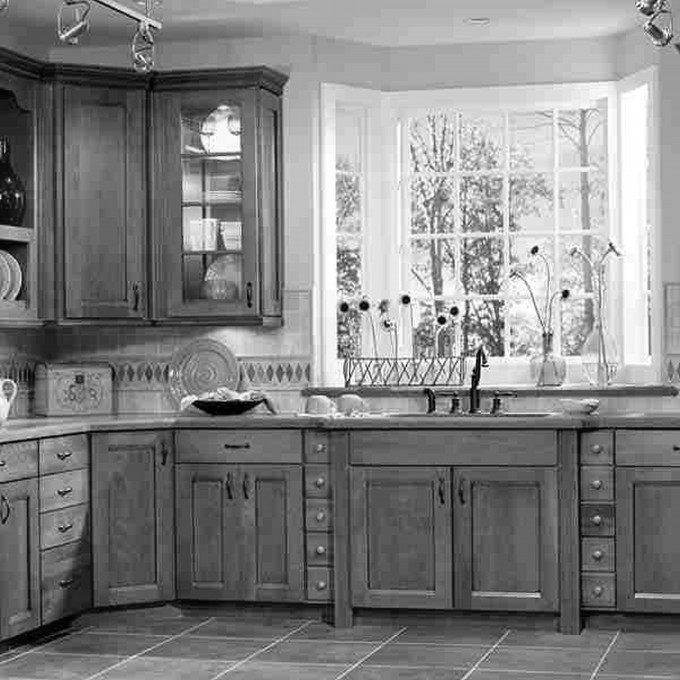 Nature Kitchen American Woodmark Cabinets With Sink And Faucet Before The Glass Window For Kitchen Decor Ideas