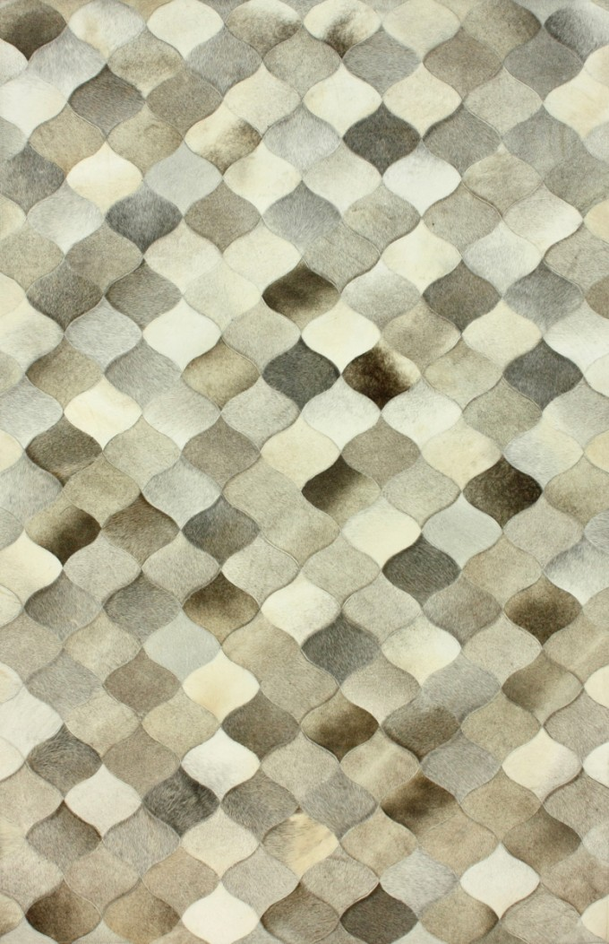 Nice Cowhide Patchwork Rug In Grey With Conch Motif For Floor Decor Ideas