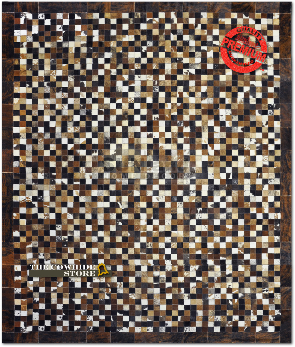 nice cowhide patchwork rug in three color with mini checked motif for floor decor ideas