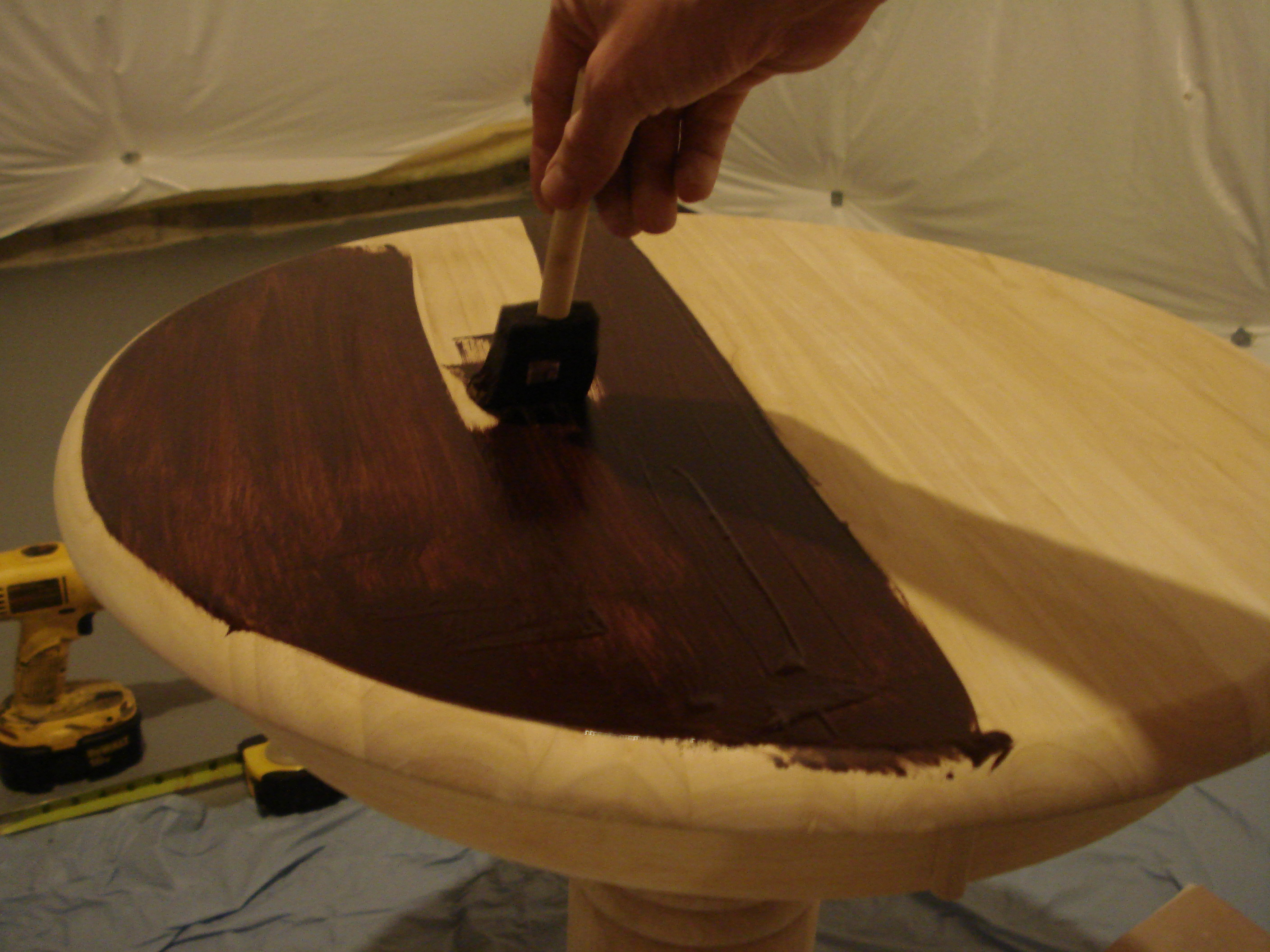 painted the round wooden table with minwax gel stain ideas