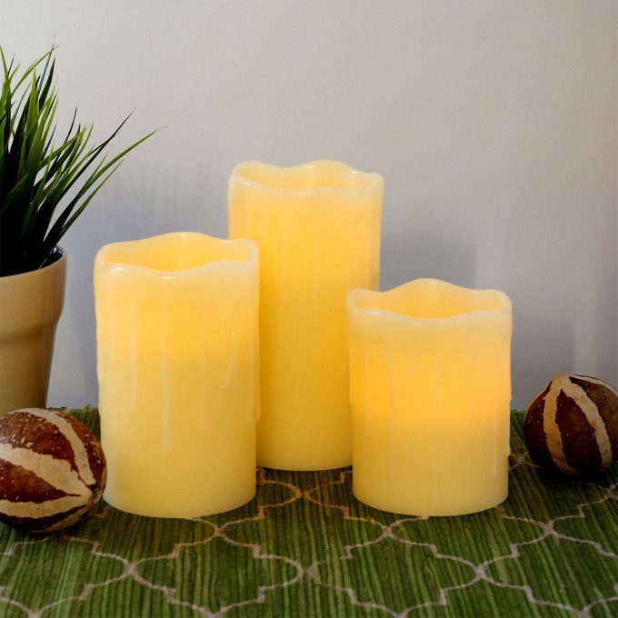 Pillar Flameless Candles With Timer Set In Three For Home Decoration
