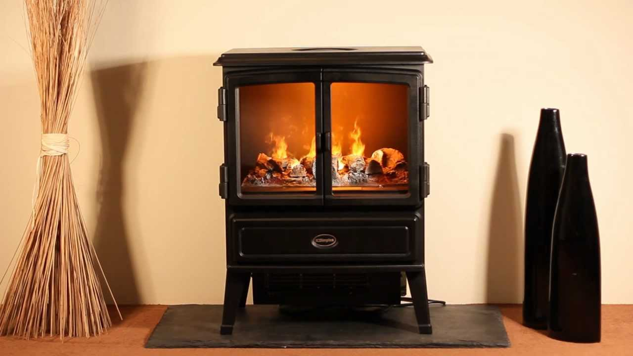 portable dimplex electric fireplaces in black on wooden floor matched with cream wall for home heatwarming ideas