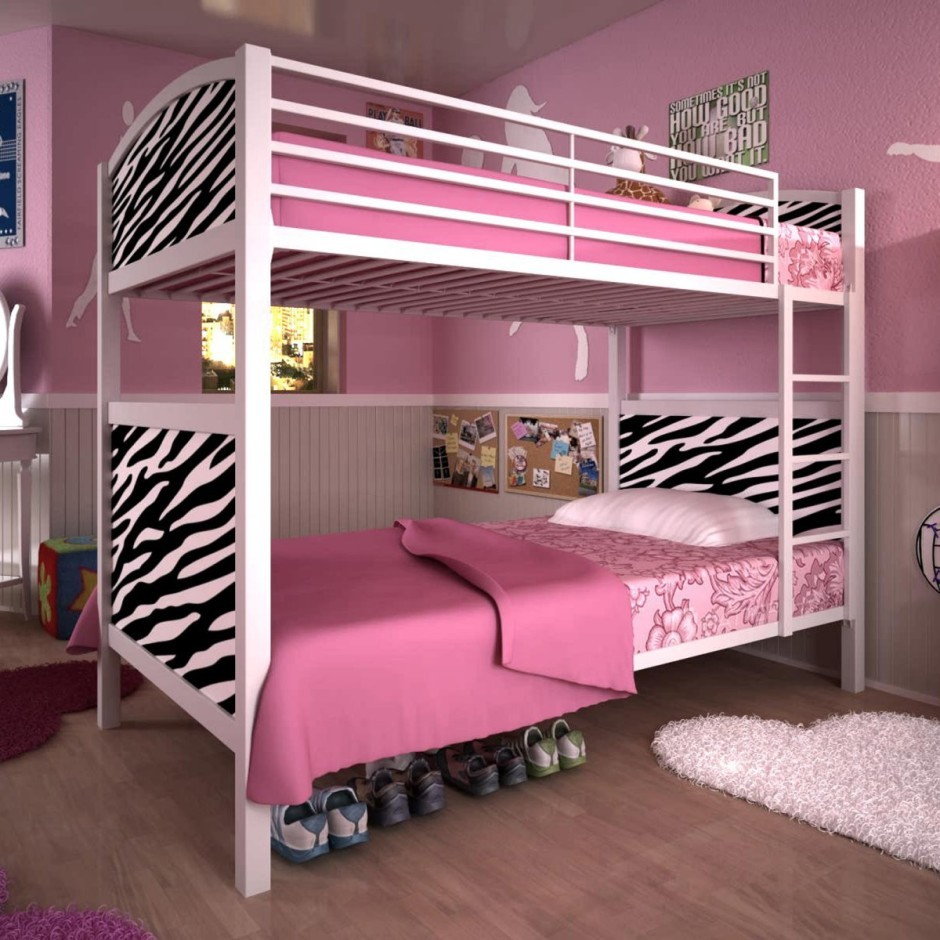 pretty Bunk Beds With Stairs in pink and zebra design on wooden floor matched with pink wall with wainscoting for girl bedroom decor ideas