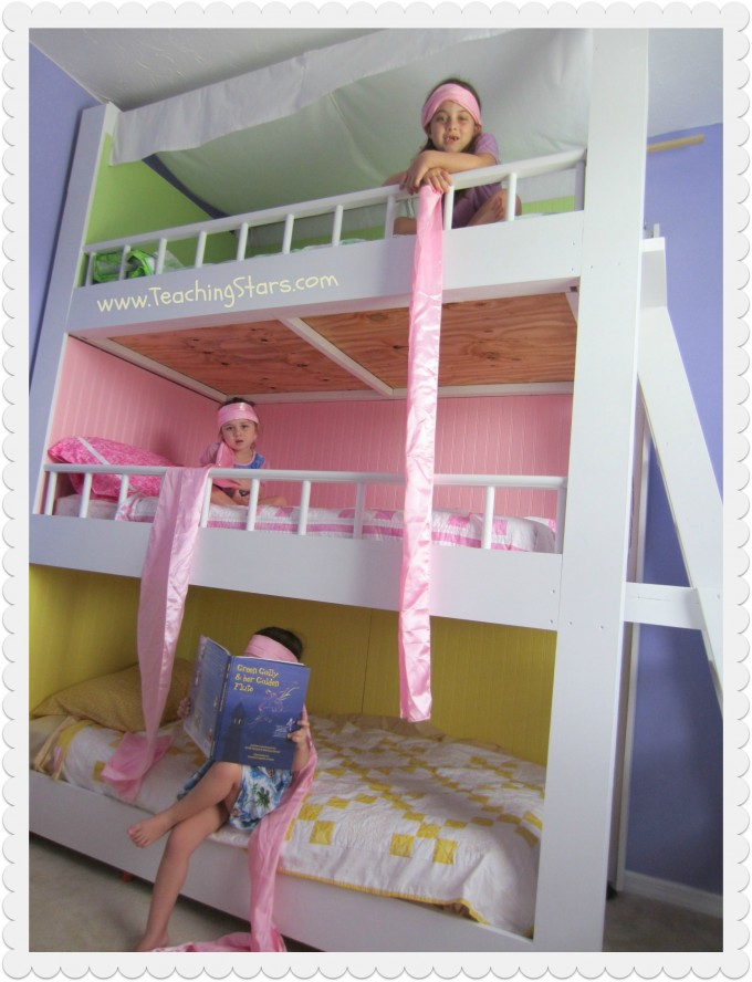 Pretty Bunk Beds With Stairs In Triple Tier And Colorful Design For Kids Bedroom Decor Ideas