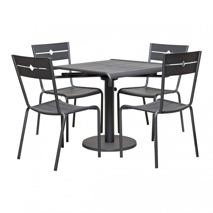 Pretty Dinning Table Set In Gray With Square Table And Chair Set In Four By Janus Et Cie Outdoor Furniture For Outdoor Furniture Ideas