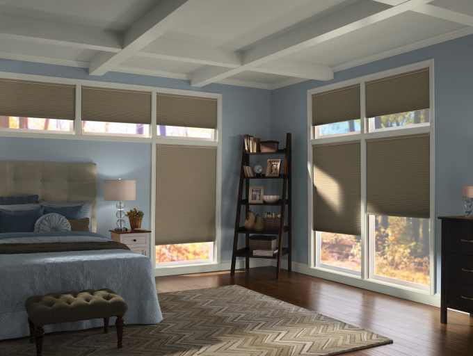 Pretty Glass Window With Tan Levolor Cellular Shades On Blue Wall Matched With Wooden Floor Plus Chevron Rug And Blue Bedding For Interesting Bedroom Inspiration