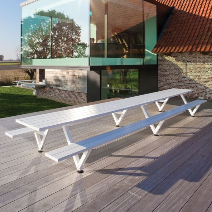Pretty Long Wooden Dining Table In White By Janus Et Cie Outdoor Furniture For Outdoor Furniture Ideas