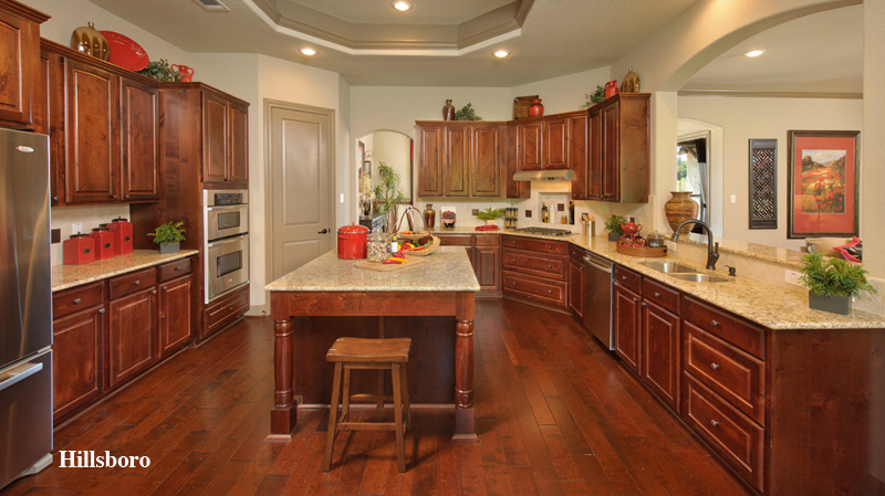 pretty tilson homes kitchen design with brown wooden kitchen cabinet matched with wooden floor plus bar stool ideas