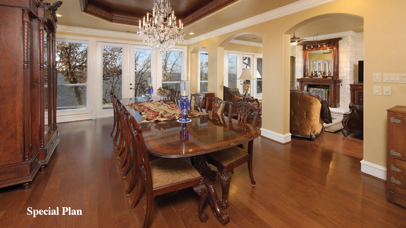 pretty tilson homes kitchen design with wooden dining table set on wooden floor plus chic chandelier ideas