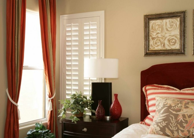 Pretty White Sunburst Shutters And Single Hung Window On Cream Wall With Curtains Plus Bed For Bedroom Decor Ideas