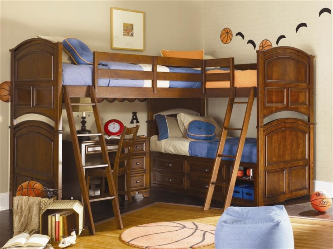 pretty wood Bunk Beds With Stairs and desk on wooden floor matched with  white wall for