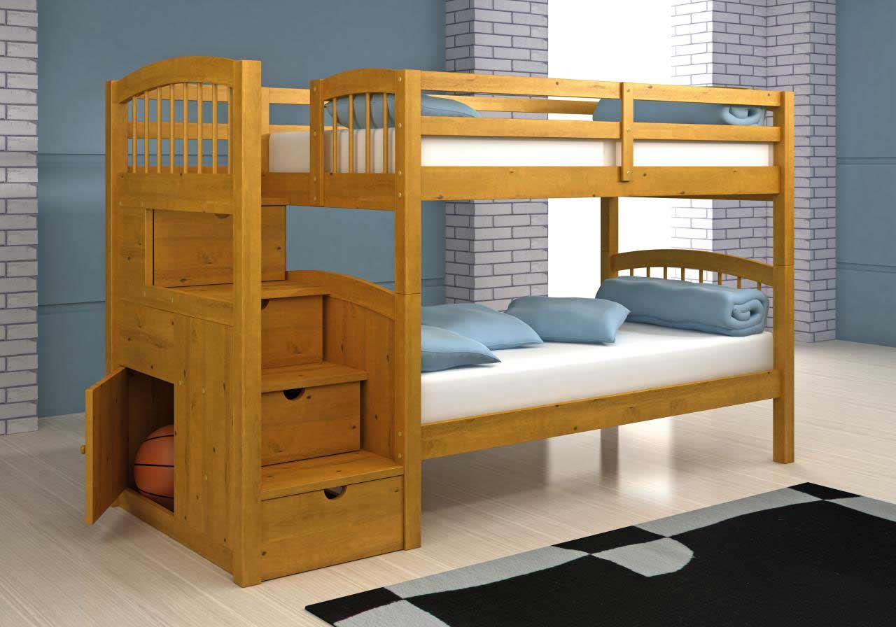 pretty wood Bunk Beds With Stairs and storage on wooden floor matched with blue wall plus black rug for boy bedroom decor ideas