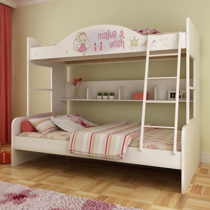 Pretty Wood Bunk Beds With Stairs In White With Bear Bedding Motif Before The Olive Wall For Teen Bedroom Decor Ideas