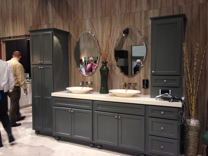 Pretty Wooden Bathroom Bertch Cabinets In Gray With White Countertop And Double Sinks And Faucets Plus Mirrors For Bathroom Decor Ideas