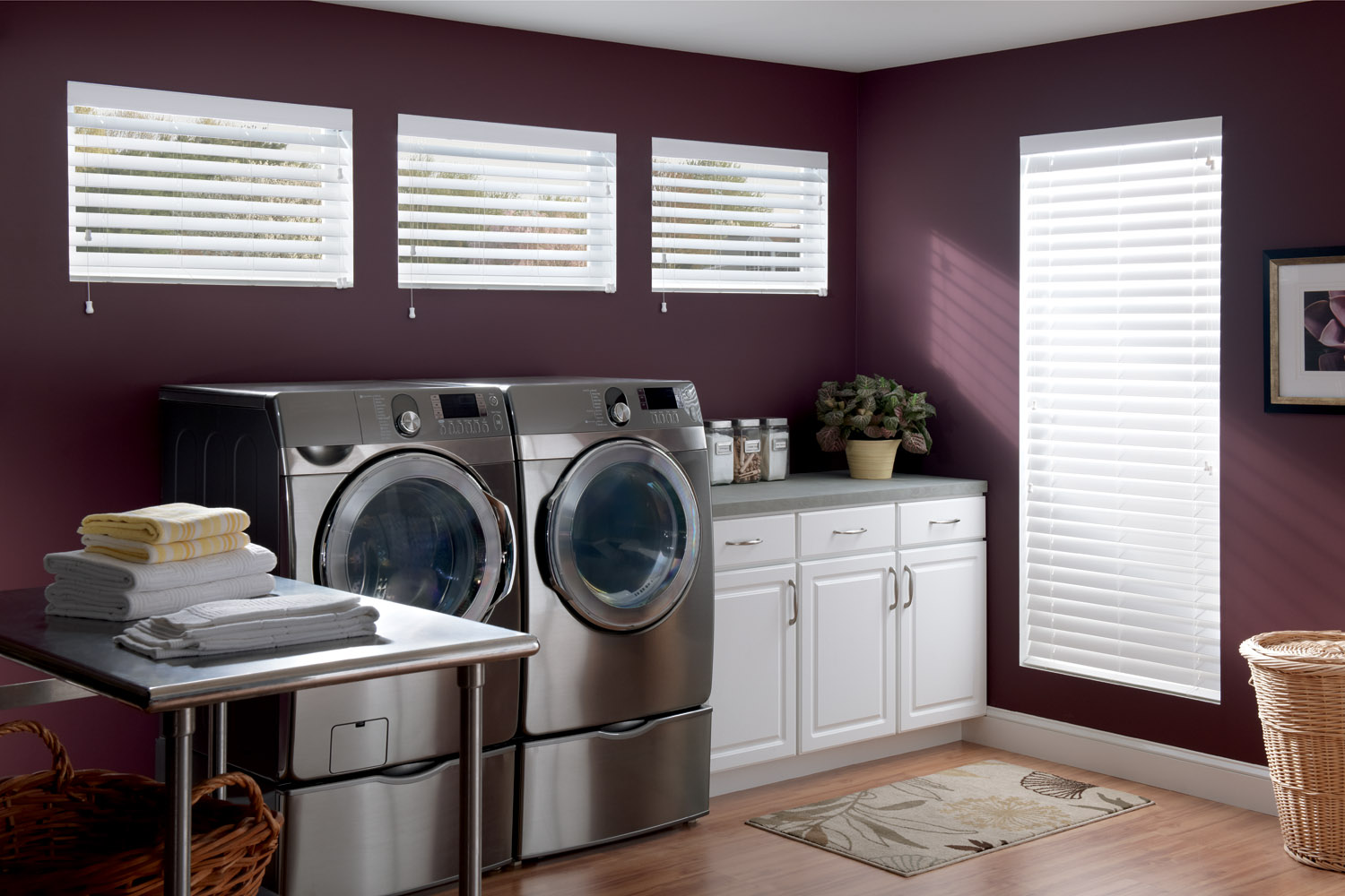 purple wall with glass window and faux wood blinds matched with wooden floor plus washer machine for laundry room design ideas
