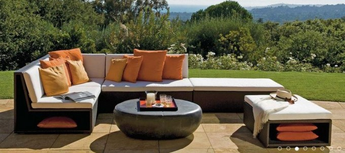 Rattan L Shaped Sofa With White Cushion Seat And Round Table By Janus Et Cie Outdoor Furniture For Outdoor Furniture Ideas