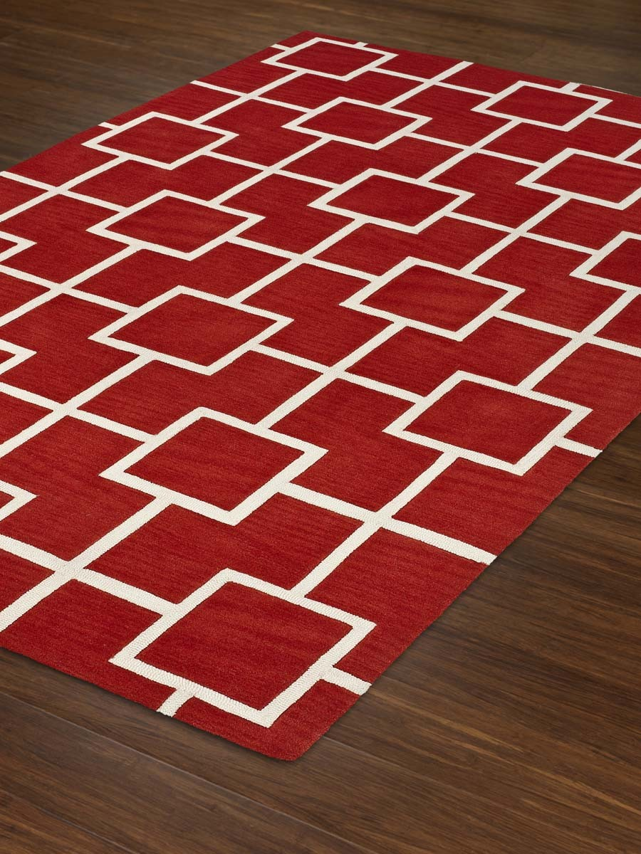 rectangle IF4 Modern Lava Rug in red with white checked motif by dalyn rugs for floor decor ideas