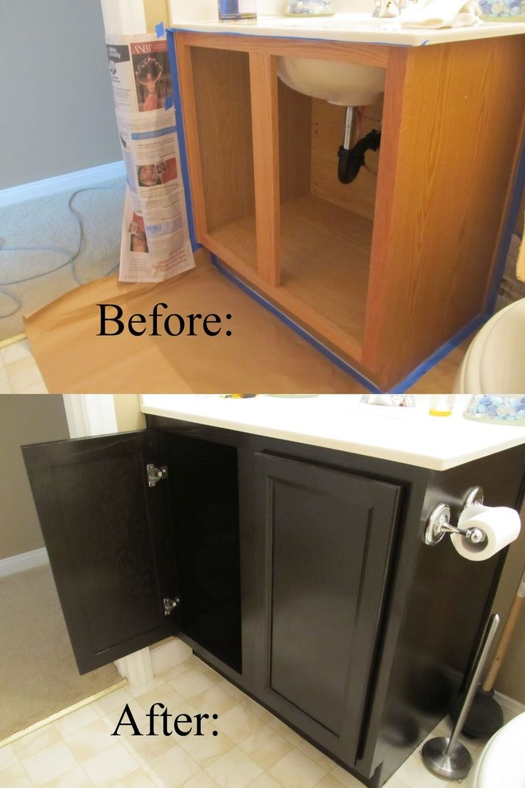 repainted bathroom cabinet using general finishes java gel stain in black with white granite top for bathroom furniture ideas