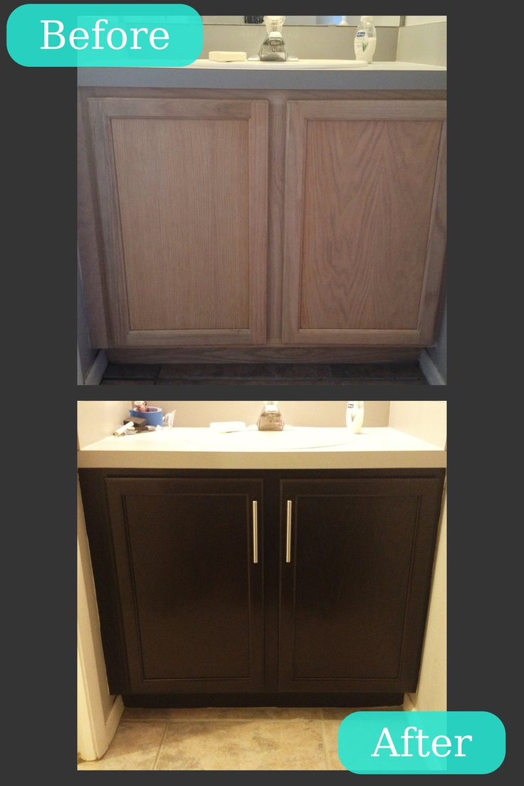 repainted your bathroom cabinet using general finishes java gel stain to get chicer looks