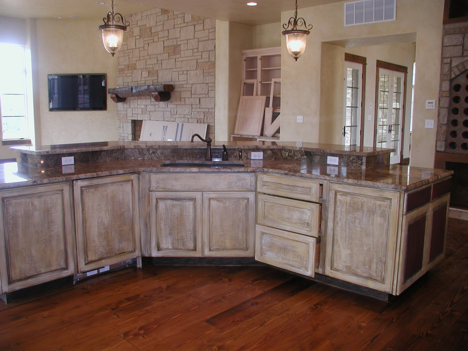 rustic kitchen american woodmark cabinets with granite countertop and sink plus faucet for kitchen decor ideas