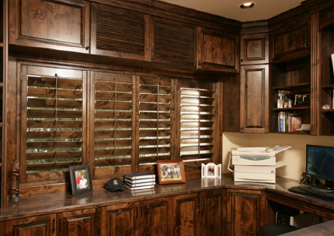 Rustic Sunburst Shutters In Brown With Wooden Kitchen Cabinet For Kitchen Decor Ideas