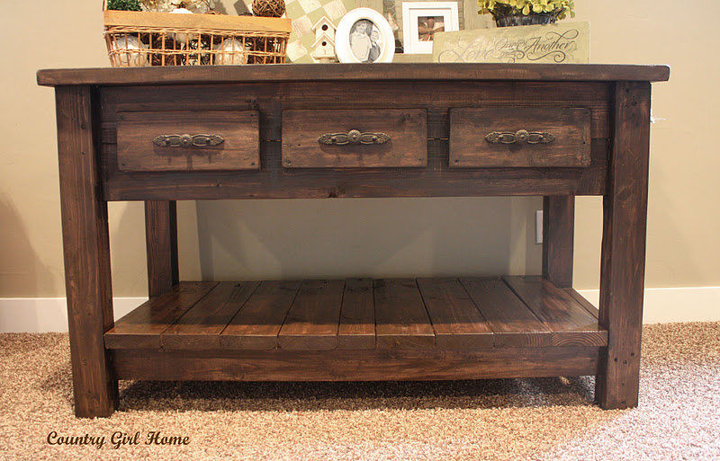 rustic wooden table using minwax gel stain with triple drawers on beige rug for living room decor ideas