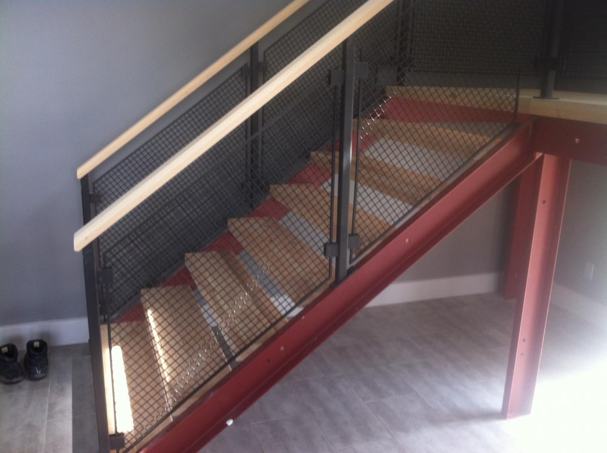 Safety Stair With Non Slip Stair Treads Matched With Black Railing And White Handrailing Ideas