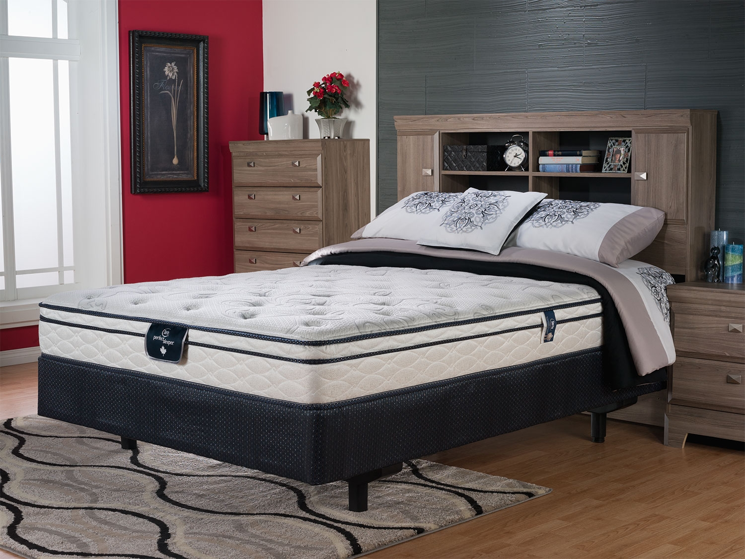 Serta Perfect Sleeper Benning Euro Top Firm Queen Mattress Set On Wooden Floor With Rug Plus Dresser For Bedroom Decor Ideas