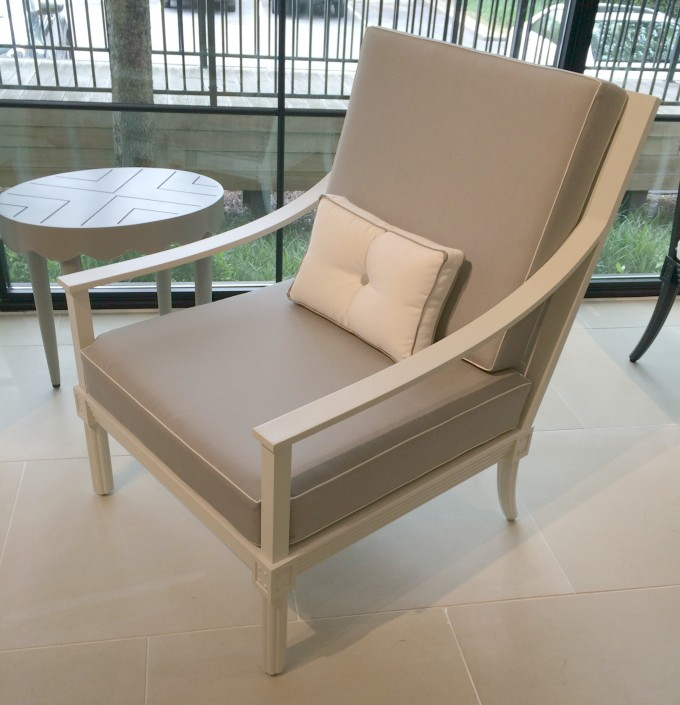 Single Sofa In Beige With Round Wooden Table By Janus Et Cie Outdoor Furniture For Outdoor Furniture Ideas