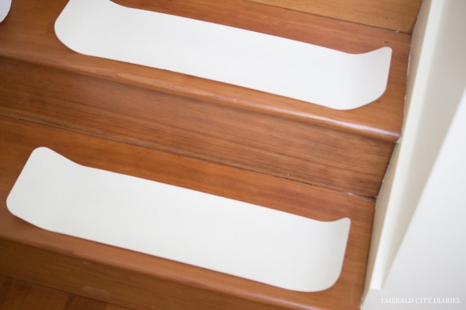 Solid White Non Slip Stair Treads On Wooden Stepping Stair For Safety Stair Ideas