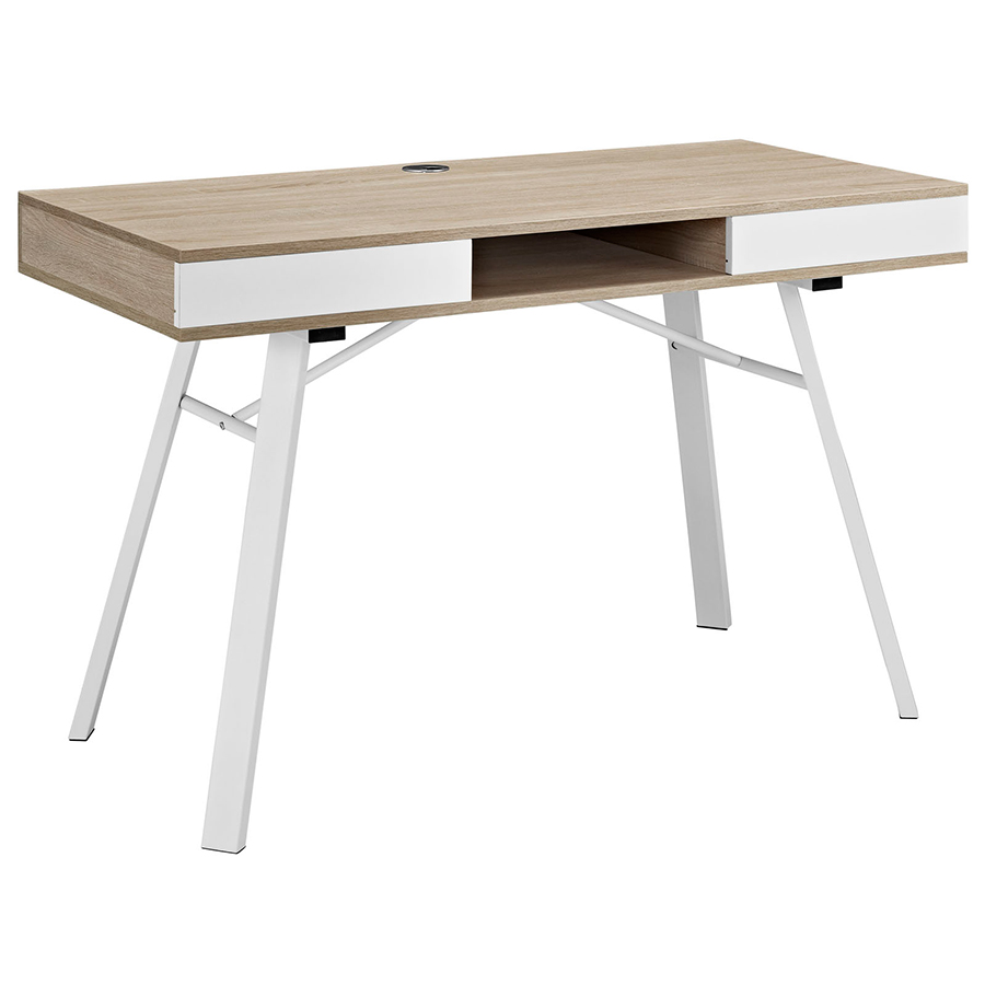 Solstice Oak Desk by eurway furniture with white metal stand for home furniture ideas