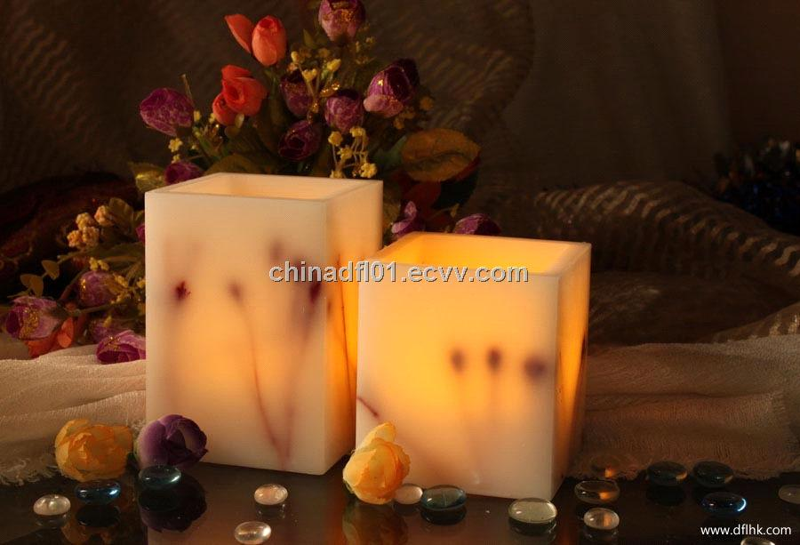 square flameless candles with timer set in two for home decoration ideas