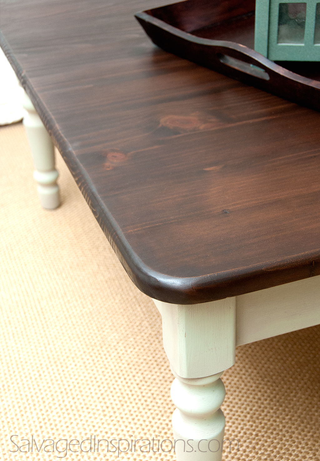 Staining Pine table with General Finishes minwax gel stain in brown with white stand for home furniture ideas