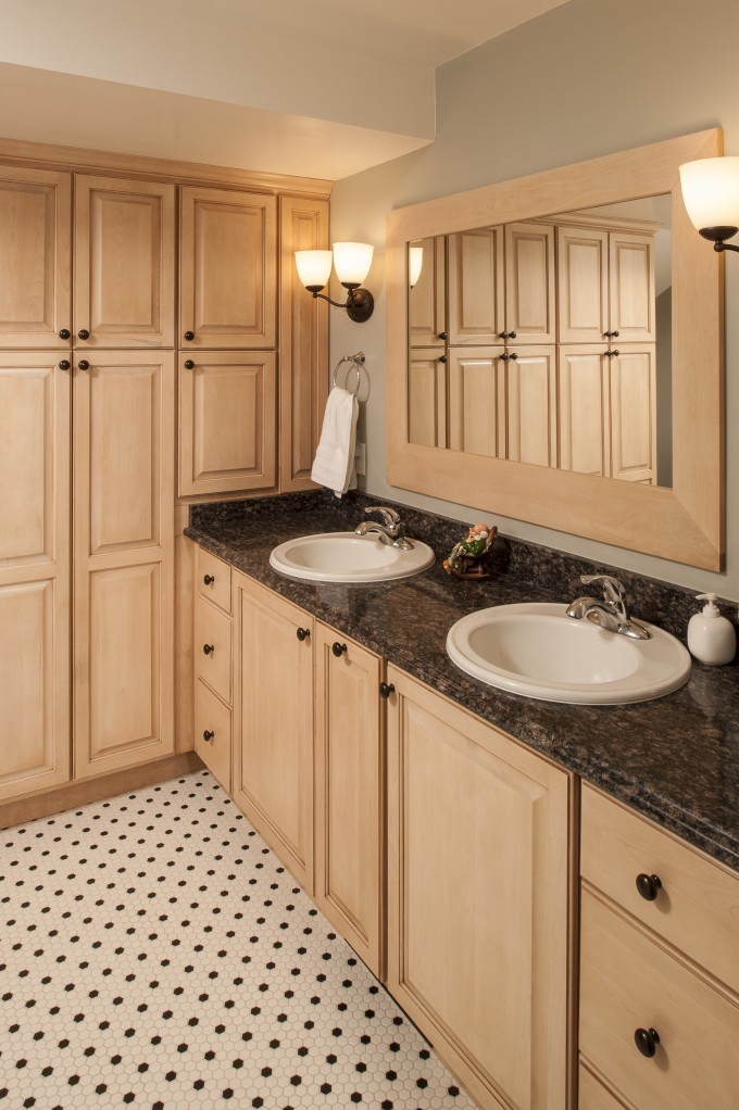 Stunning Wooden Bathroom Bertch Cabinets In Cream With Granite Countertop And Sink Plus Faucet Before The Gray Wall With Mirror And Light For Bathroom Decor Ideas