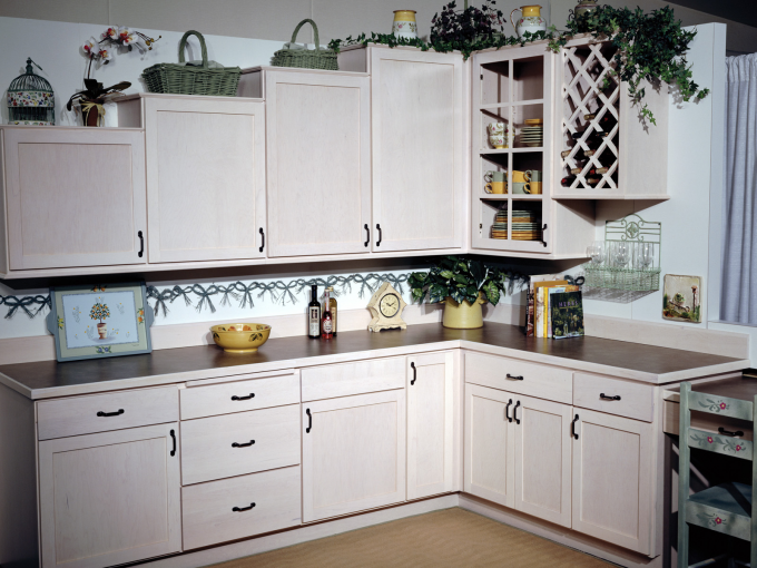 Stunning Wooden Kitchen Bertch Cabinets In White With Black Handle And Brown Countertop For Kitchen Furniture Ideas
