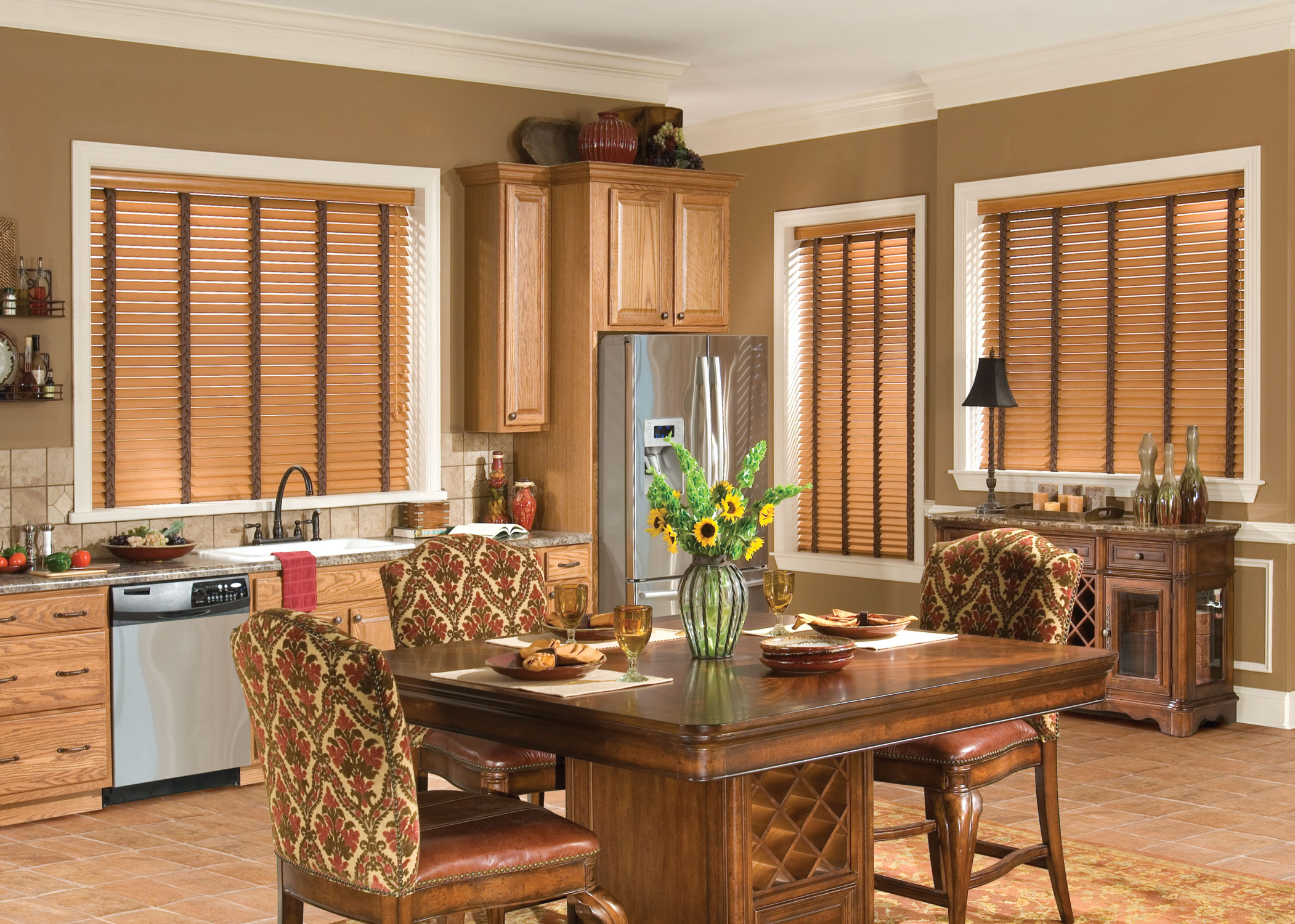 tan wall with glass dor with faux wood blinds matched with brown tile floor plus dining table set for dining room decor ideas