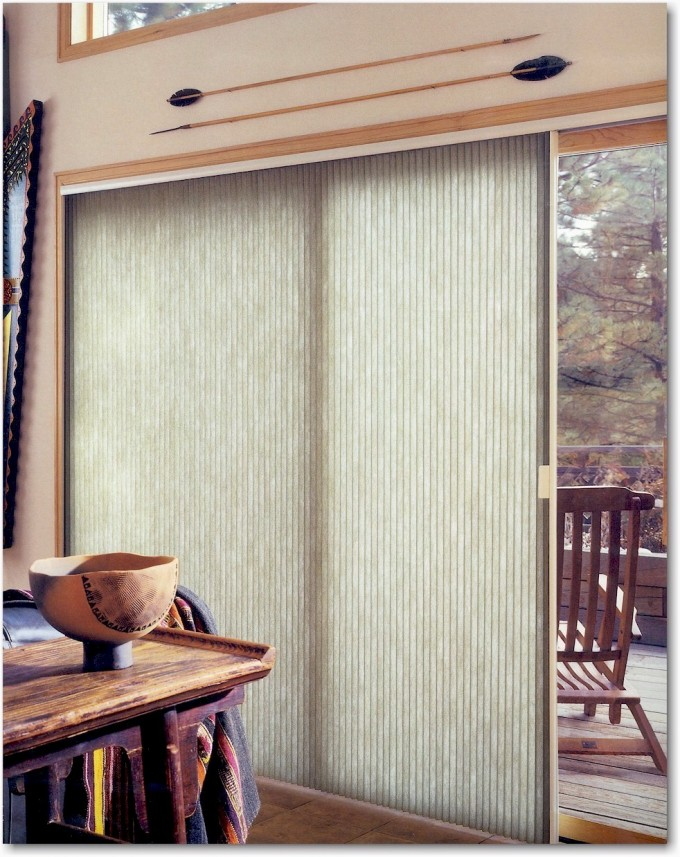 Vertical Levolor Cellular Shades On Glass Sliding Door On White Wall For Home Interior Design Ideas