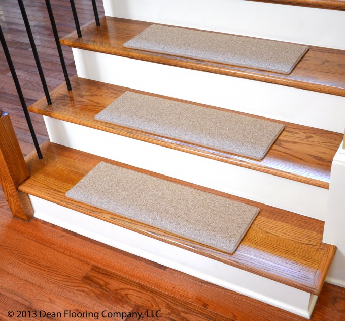 White Non Slip Stair Treads On Wooden Stepping Stair Matched With Black Metal Rstair Railing For Stair Ideas
