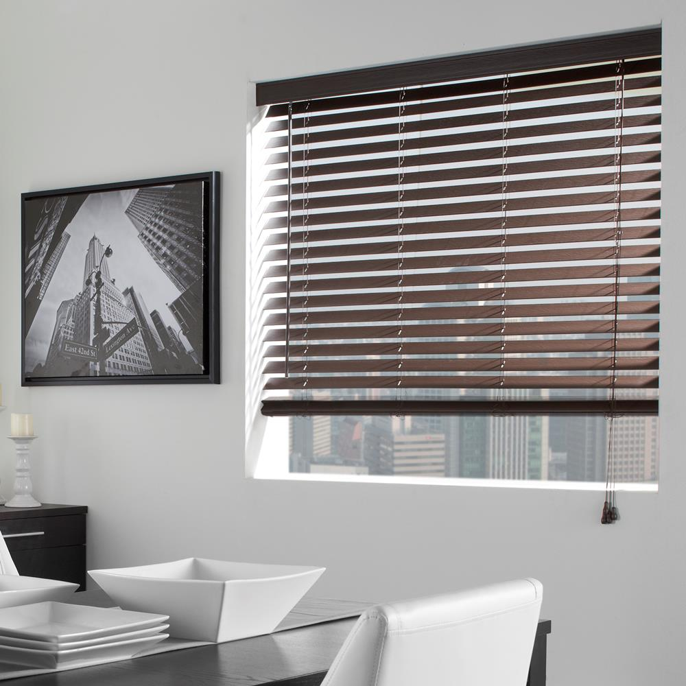 white wall with glass window and brown faux wood blinds plus picture and dining table set for dining room decor ideas