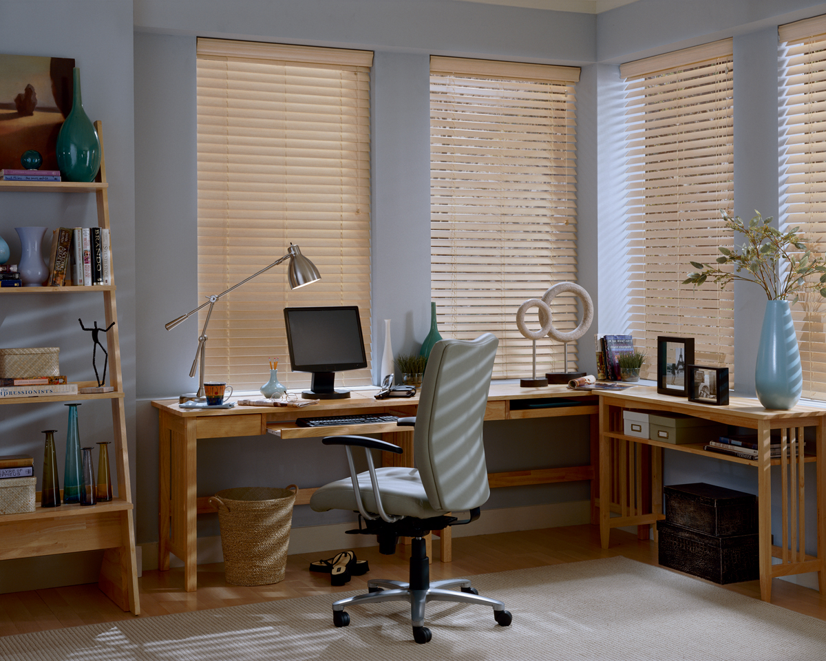 white wall with glass window and cream faux wood blinds matched with wooden floor plus desk and computer set for home office room decor ideas