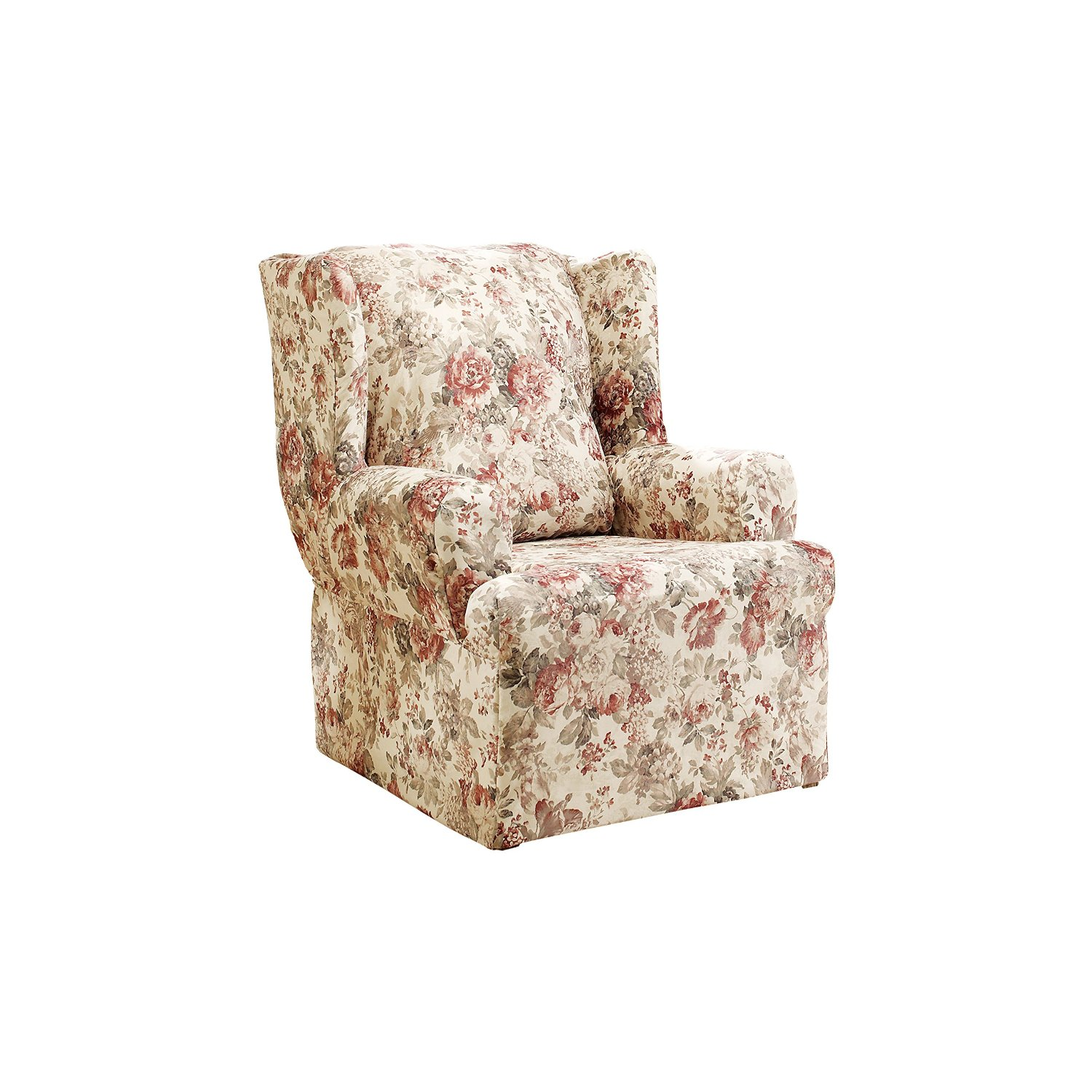 Wonderful Armback Chair With Wingback Chair Slipcover In Chic Floral Pattern For Home Furniture Ideas