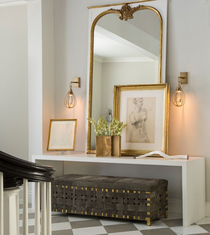 Wonderful Arteriors Lighting Sconces On White Wall Plus Mirror And Bench For Makeup Room Ideas