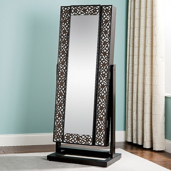 Wonderful Black Standing Mirror Jewelry Armoire With Floral Ornament Near The Blue Wall For Living Room Ideas
